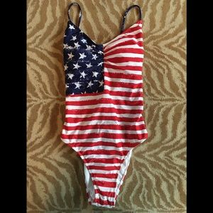 🇱🇷American Flag July 4th Strappy Back Swimsuit